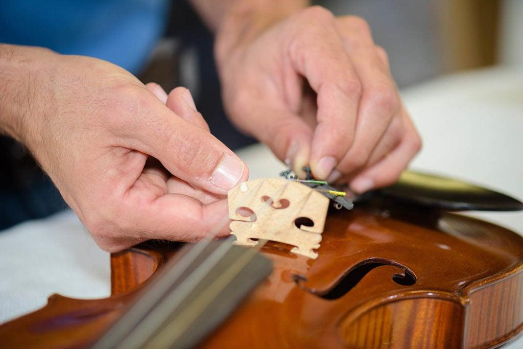connecting the violin bridge